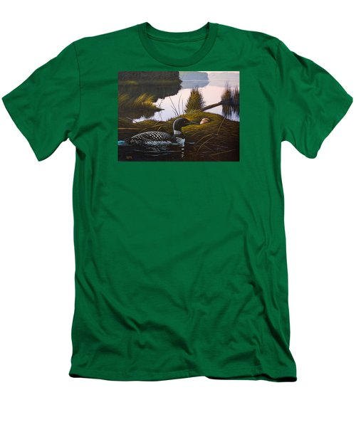 Men's T-Shirt (Slim Fit) featuring the painting Loon Lake by Richard Faulkner