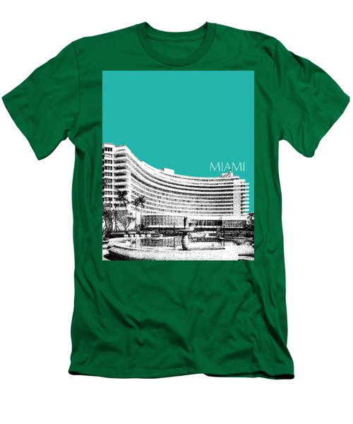Miami Skyline Fontainebleau Hotel - Teal Men's T-Shirt (Athletic Fit)