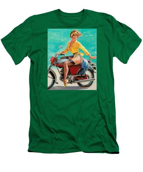 Motorcycle Pinup Girl Men's T-Shirt (Slim Fit) by Gil Elvgren
