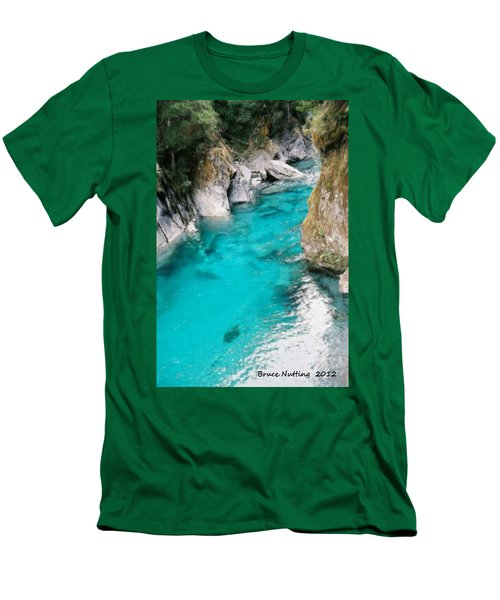 Men's T-Shirt (Slim Fit) featuring the painting Mountain Pool by Bruce Nutting