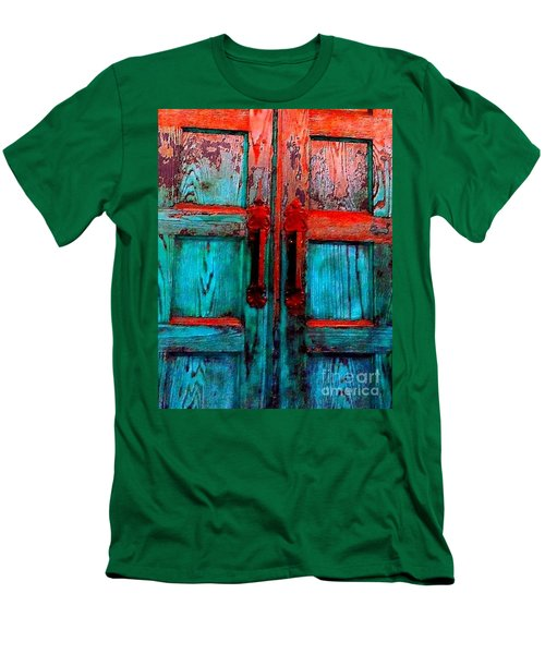 Old Church Door Handles 2 Men's T-Shirt (Slim Fit) by Becky Lupe