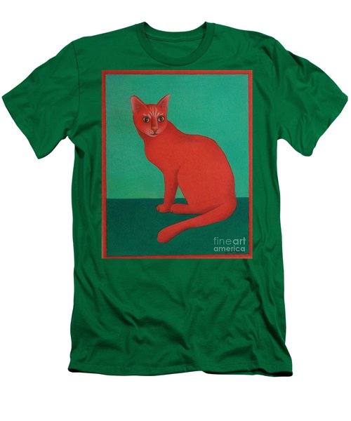 Men's T-Shirt (Slim Fit) featuring the painting Red Cat by Pamela Clements
