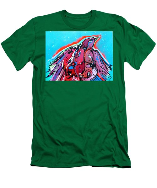 Men's T-Shirt (Slim Fit) featuring the painting Red Raven by Nicole Gaitan