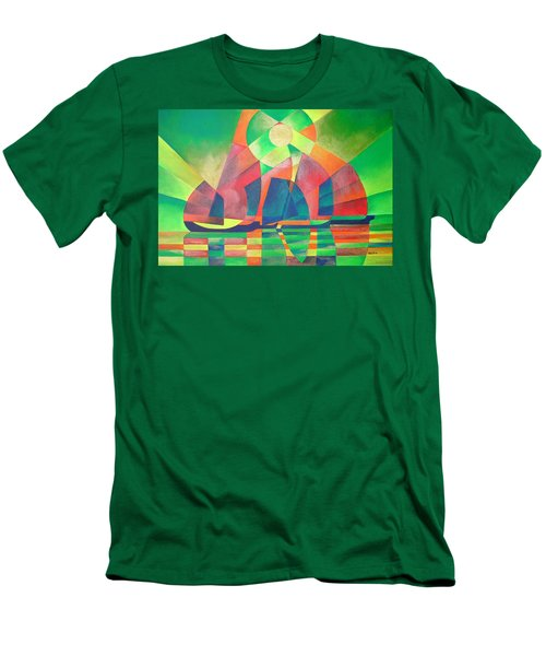Men's T-Shirt (Slim Fit) featuring the painting Sea Of Green by Tracey Harrington-Simpson