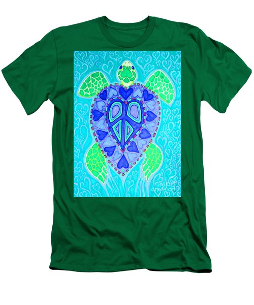 Sea Turtle Swim Men's T-Shirt (Slim Fit) by Nick Gustafson