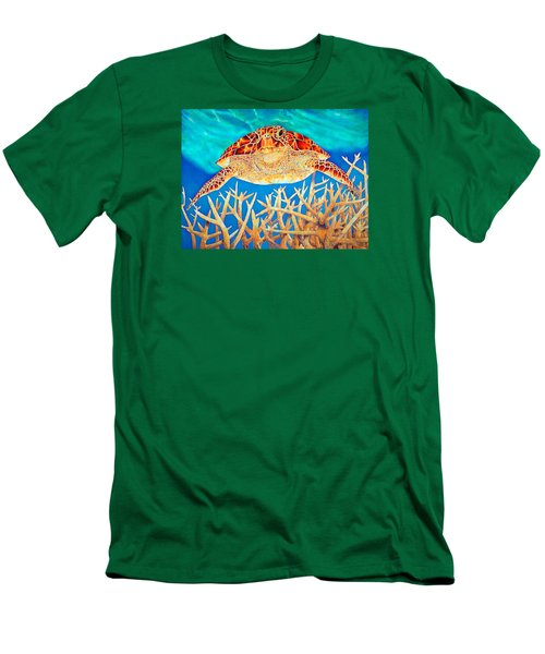 Sea  Turtle Soaring Over Staghorn Men's T-Shirt (Athletic Fit)