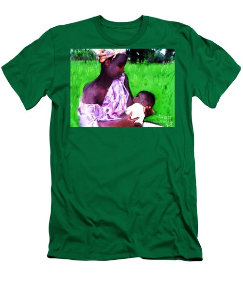 Men's T-Shirt (Slim Fit) featuring the painting The Feeding 2 by Vannetta Ferguson