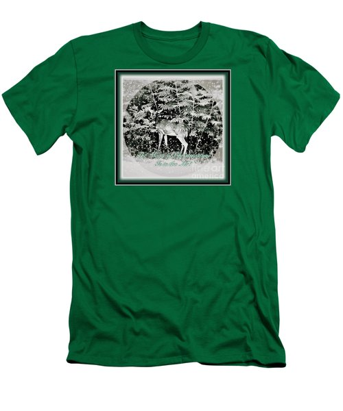 Men's T-Shirt (Slim Fit) featuring the photograph The Magic Of Christmastime In A Woodland by Kimberlee Baxter
