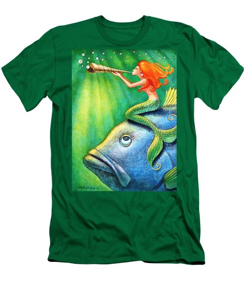 Men's T-Shirt (Slim Fit) featuring the painting Toot Your Own Seashell Mermaid by Sue Halstenberg
