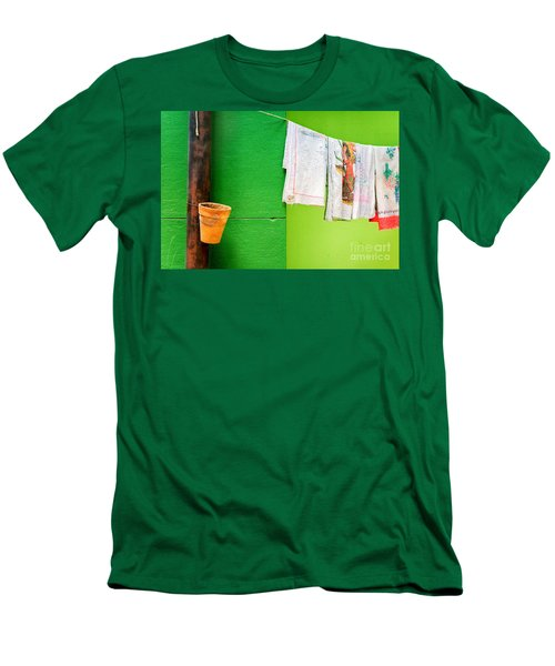 Men's T-Shirt (Slim Fit) featuring the photograph Vase Towels And Green Wall by Silvia Ganora