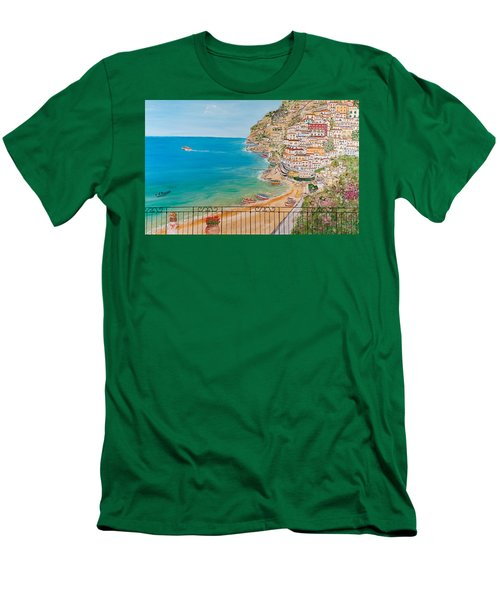 Men's T-Shirt (Slim Fit) featuring the painting Vista Su Positano by Loredana Messina