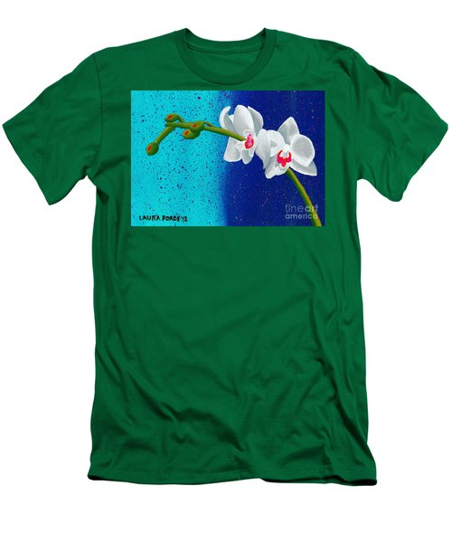 Men's T-Shirt (Slim Fit) featuring the painting White Orchids On Blue by Laura Forde