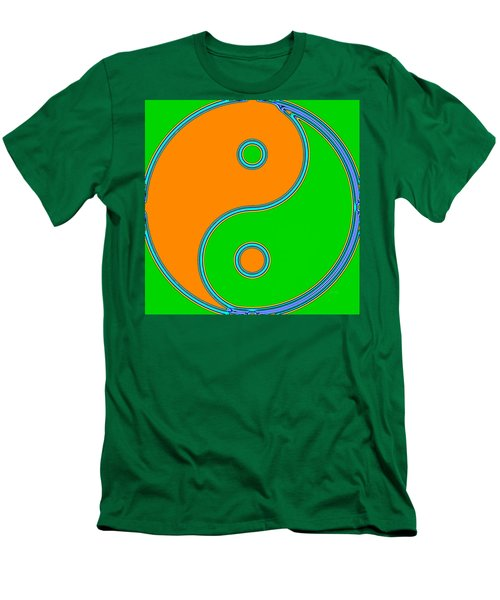Yin Yang Orange Green Pop Art Men's T-Shirt (Athletic Fit)