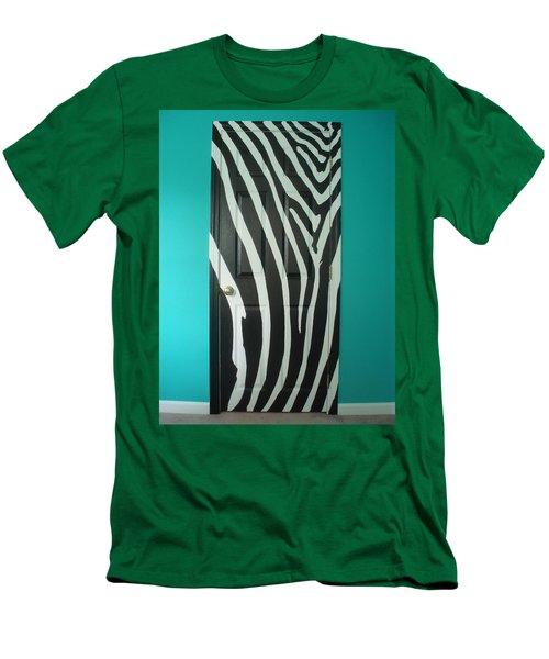 Zebra Stripe Mural - Door Number 1 Men's T-Shirt (Slim Fit) by Sean Connolly