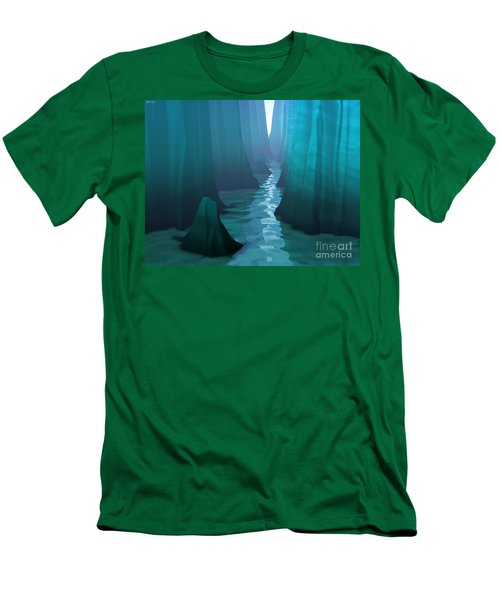 Men's T-Shirt (Slim Fit) featuring the digital art Blue Canyon River by Phil Perkins