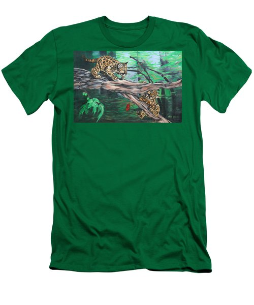 Men's T-Shirt (Slim Fit) featuring the painting Cubs At Play by Wendy Shoults