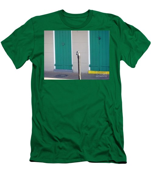 Men's T-Shirt (Slim Fit) featuring the photograph Horse Head Post With Green Doors by Alys Caviness-Gober