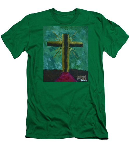 Men's T-Shirt (Slim Fit) featuring the painting The Old Rugged Cross by Donna Brown