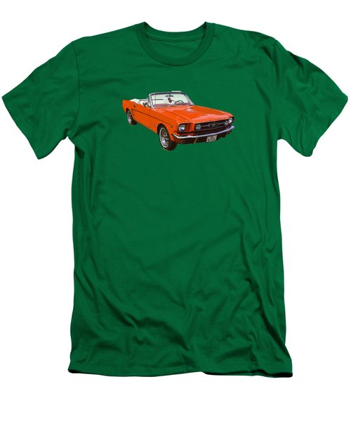 1965 Red Convertible Ford Mustang - Classic Car Men's T-Shirt (Slim Fit) by Keith Webber Jr