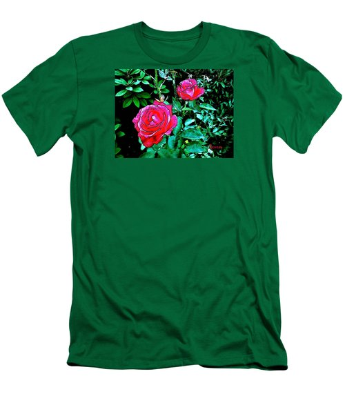 Men's T-Shirt (Slim Fit) featuring the photograph 2 Red Roses by Sadie Reneau