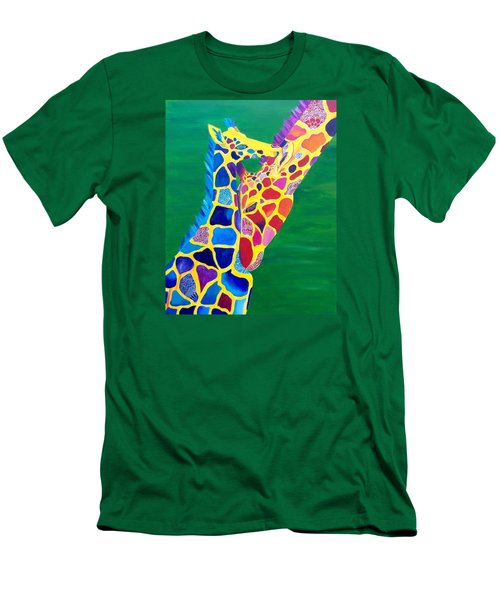 Abstract Mehndi Giraffe Mom And Baby Men's T-Shirt (Athletic Fit)