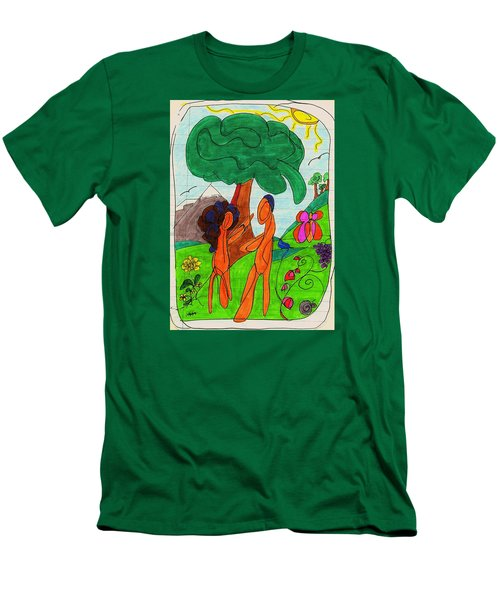 Adam And Eve Men's T-Shirt (Slim Fit) by Martin Cline