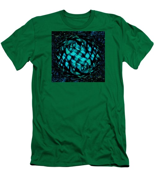 Agave Blues Abstract Men's T-Shirt (Slim Fit) by Stephanie Grant