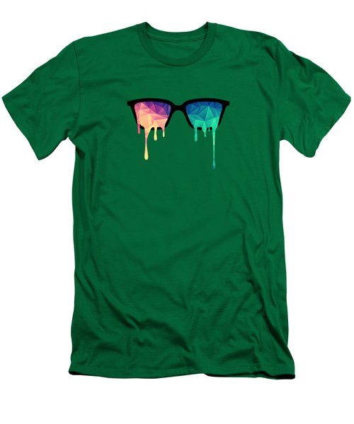 Psychedelic Nerd Glasses With Melting Lsd Trippy Color Triangles Men's T-Shirt (Slim Fit) by Philipp Rietz