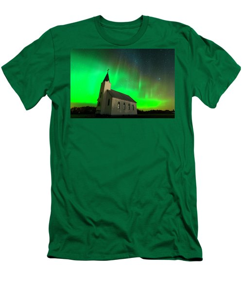Aurora And Country Church Men's T-Shirt (Slim Fit) by Dan Jurak