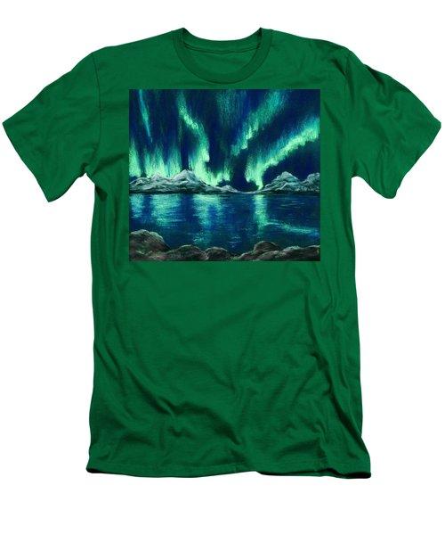 Men's T-Shirt (Athletic Fit) featuring the pastel Aurora Borealis by Anastasiya Malakhova