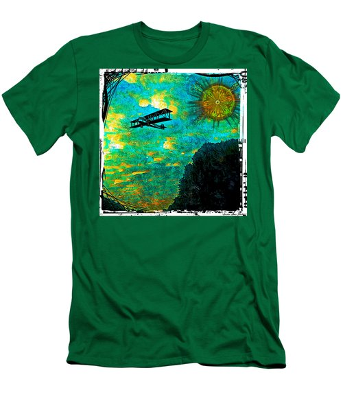 Men's T-Shirt (Slim Fit) featuring the digital art Biplane by Iowan Stone-Flowers