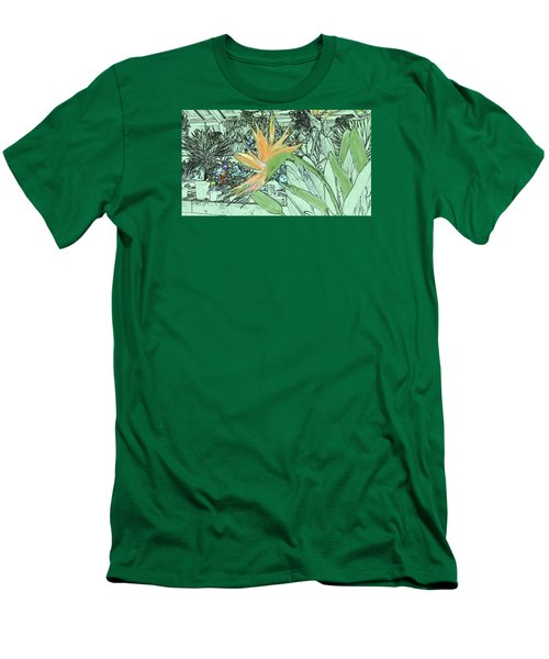 Men's T-Shirt (Athletic Fit) featuring the photograph Bird Of Paradise In The Hothouse by Nareeta Martin
