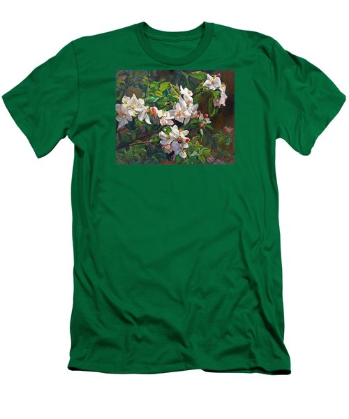 Men's T-Shirt (Slim Fit) featuring the painting Blossom Of My Heart by Svitozar Nenyuk