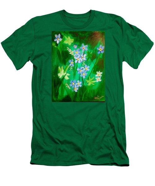 Blue Crocus Flowers Men's T-Shirt (Slim Fit) by Renee Michelle Wenker