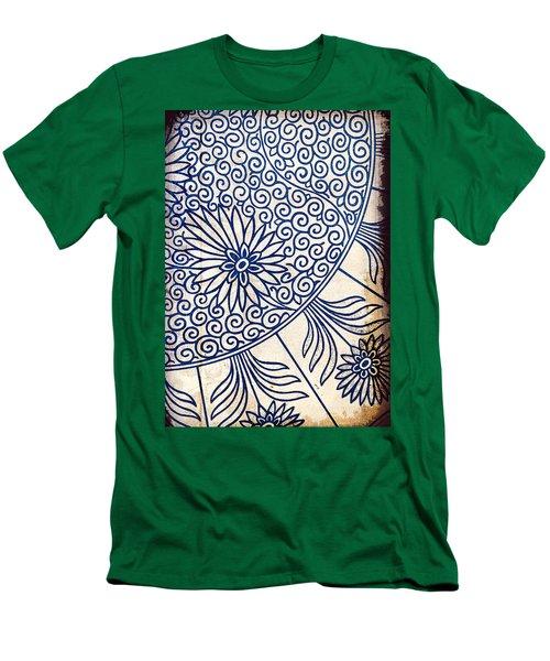 Blue Oriental Vintage Tile 01 Men's T-Shirt (Athletic Fit)