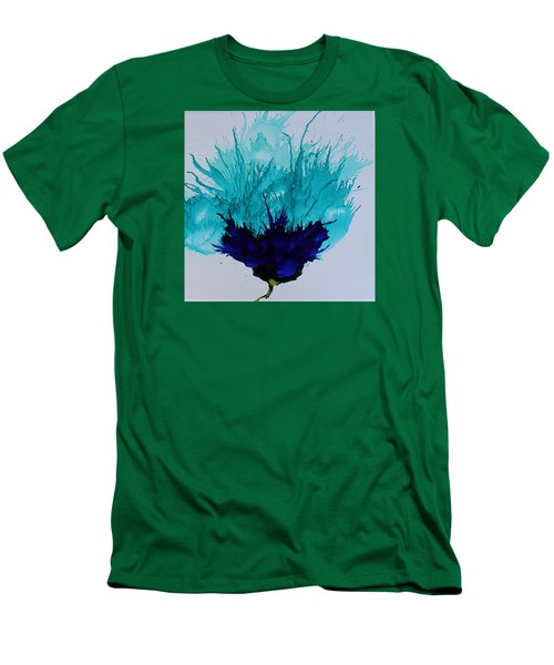 Men's T-Shirt (Slim Fit) featuring the painting Blue Thistle by Suzanne Canner