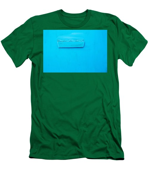 Men's T-Shirt (Slim Fit) featuring the photograph Bright Blue Paint On Metal With Postbox by John Williams