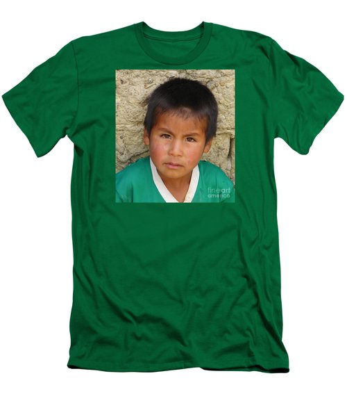 Men's T-Shirt (Slim Fit) featuring the photograph Brown Eyed Bolivian Boy by Lew Davis