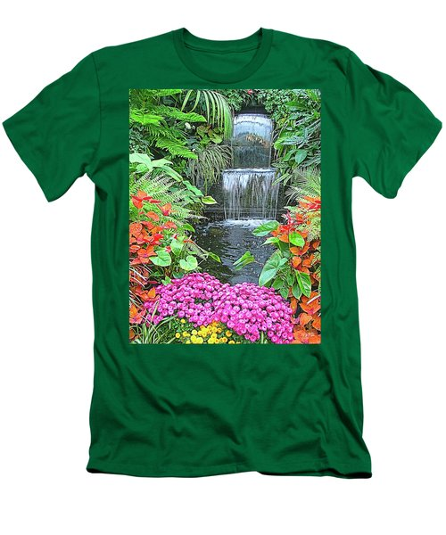 Men's T-Shirt (Slim Fit) featuring the photograph Butchart Gardens Waterfall by Wendy McKennon