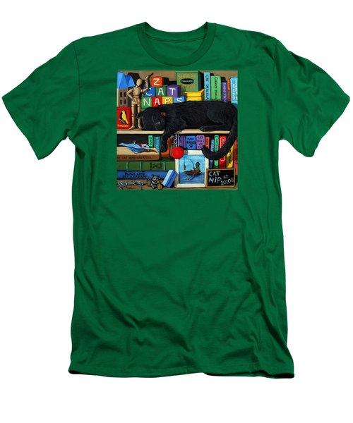 Men's T-Shirt (Slim Fit) featuring the painting Cat Nap - Orginal Black Cat Painting by Linda Apple