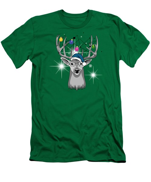 Christmas Deer Men's T-Shirt (Slim Fit) by Mark Ashkenazi