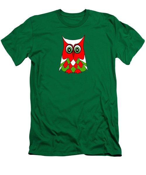 Christmas Owl Men's T-Shirt (Slim Fit) by Kathleen Sartoris
