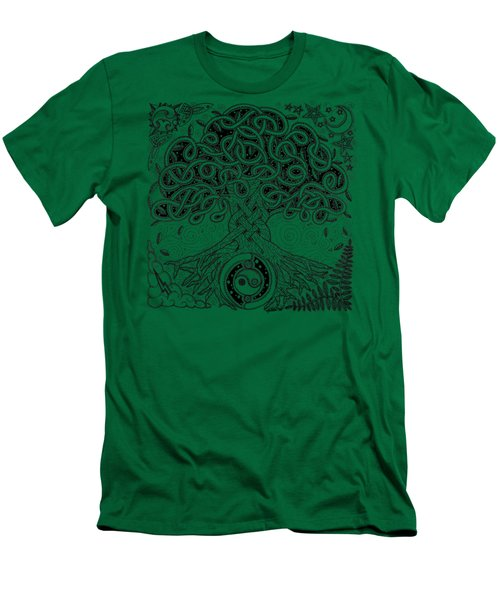 Circle Celtic Tree Of Life Inked Men's T-Shirt (Slim Fit) by Kristen Fox