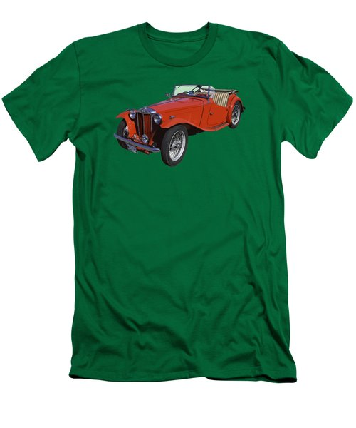 Classic Red Mg Tc Convertible British Sports Car Men's T-Shirt (Slim Fit) by Keith Webber Jr
