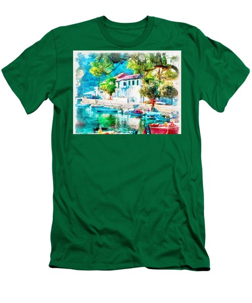 Coastal Cafe Greece Men's T-Shirt (Slim Fit)