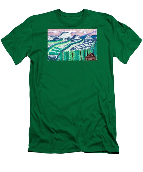 Men's T-Shirt (Slim Fit) featuring the painting Colorado Cabin by Don Koester