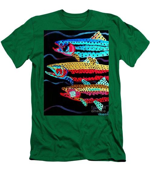 Colorful Swimming Trout Men's T-Shirt (Slim Fit) by Scott D Van Osdol