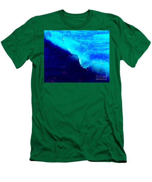 Crystal Blue Wave Painting Men's T-Shirt (Slim Fit) by Catherine Lott