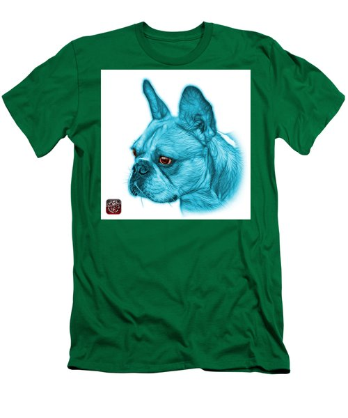 Cyan French Bulldog Pop Art - 0755 Wb Men's T-Shirt (Athletic Fit)