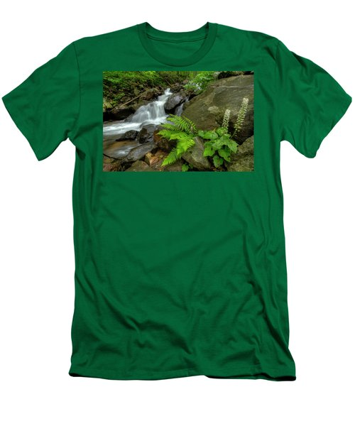Men's T-Shirt (Slim Fit) featuring the photograph Dreamy Waterfall Cascades by Debra and Dave Vanderlaan